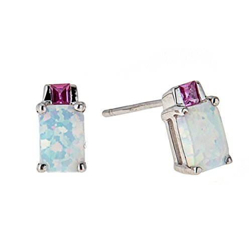 Lavari - .50 cttw 6x4MM White Opal 2MM Pink Sapphire Sterling Silver Stud Earrings