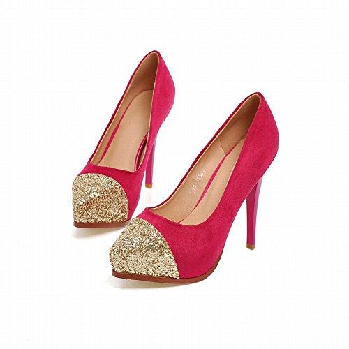 Latasa Donna Moda Paillettes Stiletto Scarpe Col Tacco Alto A Punta Tacco Pompe Scarpe Pesca Rosso