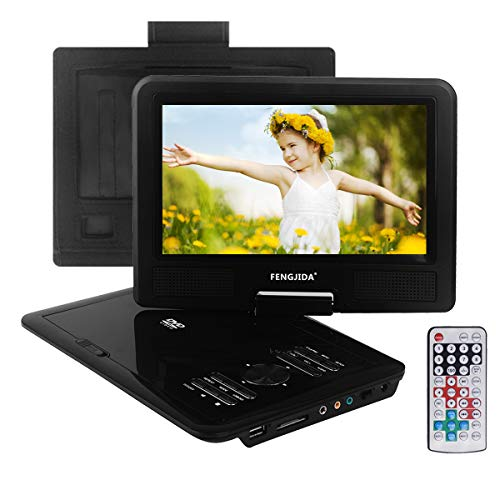 """FENGJIDA 9.5"""" Portable DVD Player with Headrest Mount Holder, Multimedia Car DVD Player 270°Swivel Screen, Built-in Rechargeable Battery, SD Card Slot and USB Port – Black"""