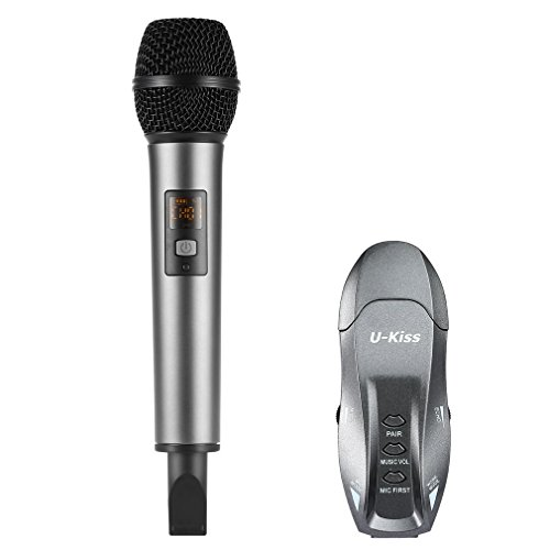 U-Kiss Wireless Karaoke Microphone, Handheld Microphone with Portable Receiver, Mic First Function, for Home KTV/ Meetings/ Party