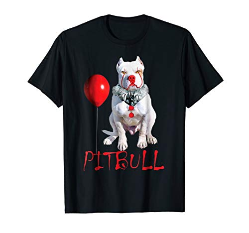 (Pitbull Wearing Clown Costume Funny Halloween Dog)