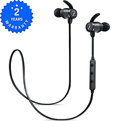 AC M1 Workout Bluetooth Headphones Sport Wireless headphone with mic, Stereo HD sound, 8 HOURS play time, IPX4 Sweatproof, magnetic design, Secure fit,Black