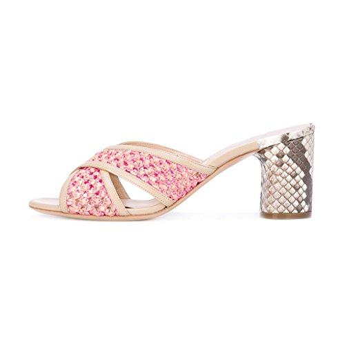 Fsj Donna Taglio Colorato Out Peep Toe Muli Stampa Serpente Sandalo Con Tacco Alto Sandali Scarpe Taglia 4-15 Us Fucsia