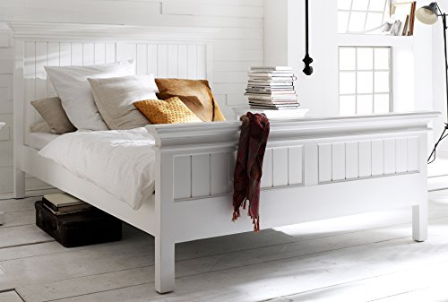 NovaSolo Halifax Pure White Mahogany Wood Platform King Bed With Slats And Wooden - Daybed Mahogany Bedroom