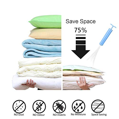 Vacuum Storage Bags, Space Saver Bag, Vacume Pack Storage Bags for Clothes Duvets Bedding Dresses Comforters Blankets Pillows Travel Storage,Reusable Bags Double Zip Seal,6 Pcs+Hand Pump Included