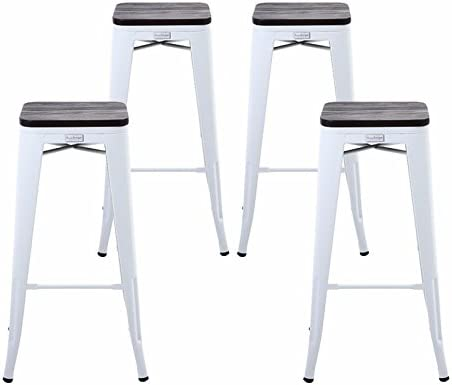 Pleasing Buschman Set 4 Matte White Wooden Seat 30 Inch Bar Height Metal Bar Stools Indoor Outdoor Stackable Squirreltailoven Fun Painted Chair Ideas Images Squirreltailovenorg