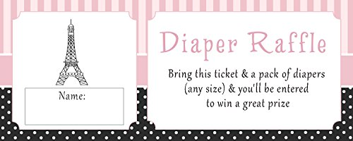 50 Diaper Raffle Tickets Baby Girl Shower Paris Eiffel Tower Pink Black