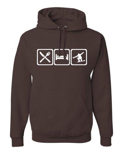 ShirtLoco Men's Eat Sleep Snowboard Hoodie Sweatshirt, Chocolate 4XL