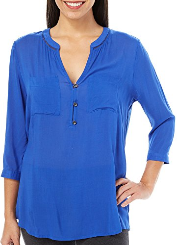 DKNY JEANS Womens Challis Henley High-Low Top Large Cobalt blue