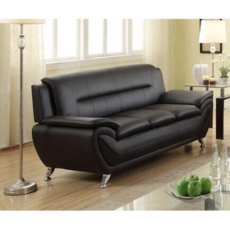 Norton Black Faux Leather Modern Living Room Sofa price