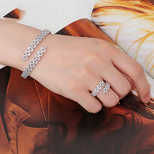 CTRCHUJIAN Fashion AAA Cubic Zirconia Baguette Bracelet Micro Pave Setting Bangle Cuff Copper Base with Gold-Color