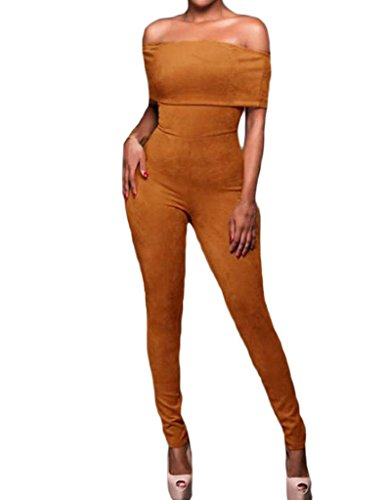 [Shawhuwa Womens Sexy Faux Suede Off Shoulder Bodycon Party Club Jumpsuit L A-mocha] (Sexy Jumpsuits For Women)