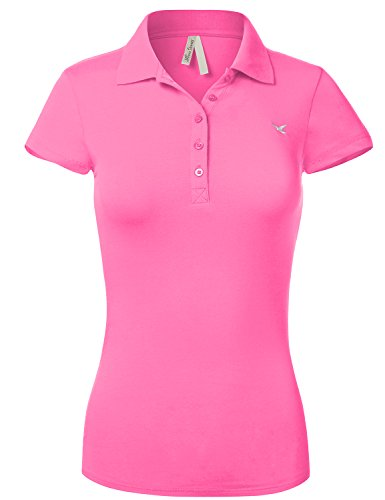 Slim Fit Long Waist Short Sleeve Plain Polo Tee Shirts, US L, 102-Bright Pink
