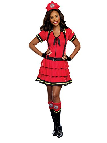 Walmart Womens Fire Fighter Halloween Costume Fireman Dress Gloves Hat & Boot Tops Large