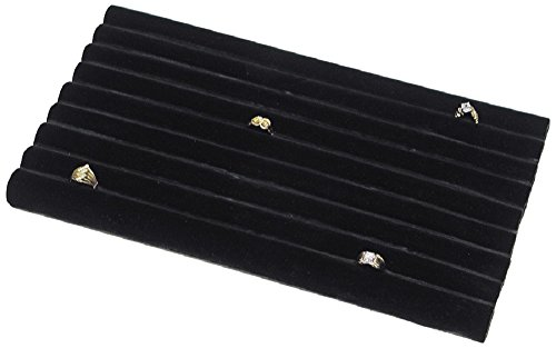 2 Black Velvet Continuous Slot Ring Trays Jewelry Showcase Displays (Displays Ring Velvet Showcase 2)