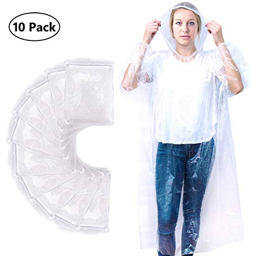 Emergency Rain Poncho (10 Pack) ~Drawstring Hood & Sleeve ~ Clear Adult Ponchos, Non-Toxic,No Plastic Smell,Environmentally Friendly,Light Weight and Perfect for Theme Parks, Hiking, Camping, Sports E