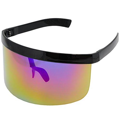 Elite Futuristic Oversize Shield Visor Sunglasses Flat Top Mirrored Mono Lens 172mm (Blue/Purple/Yellow Mirror, 172) from Elite Glasses