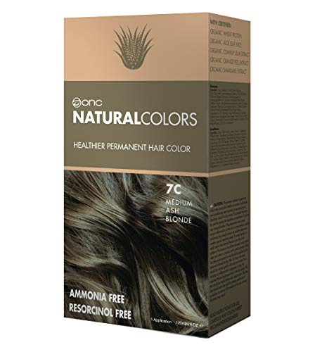 ONC NATURALCOLORS 7C Medium Ash Blonde Healthier Permanent Hair Color Dye 4 fl. oz. (120 mL) with Certified Organic Ingredients, Ammonia-free, Resorcinol-free, Paraben-free, Low pH, Salon Quality, Eas