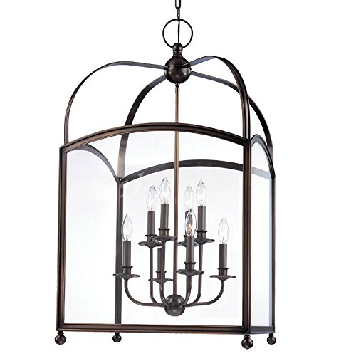 Millbrook 8-Light Pendant - Distressed Bronze Finish with Clear Glass Shade