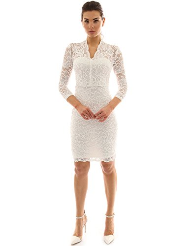 PattyBoutik Mujer v del vestido de la envoltura del cordón de la manga 3/4 superposición blanquecino