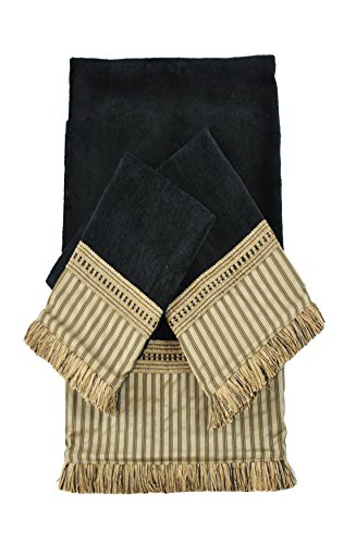 Ausin Horn Classics Austin Horn Classics York Stripe Black Luxury Embellished Decorative Towel Set,Black