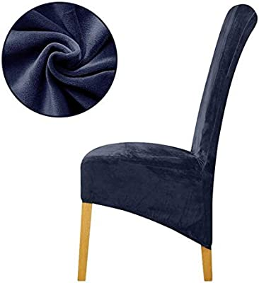 TomTomPro Velvet Fabric Europe Long High King Back Chair Cover seat Chair Covers Restaurant Hotel Party Banquet housse de Chaise Home (XL Sizes,Navy)