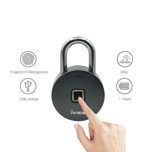 iView FL200 Fingerprint Lock, Padlock Biometric Keyless Lock, No Bluetooth Required, IP65 Waterproof, Store 10 Fingerprints, Secure Your Locker, Safe, Suitcase, Luggage & More!