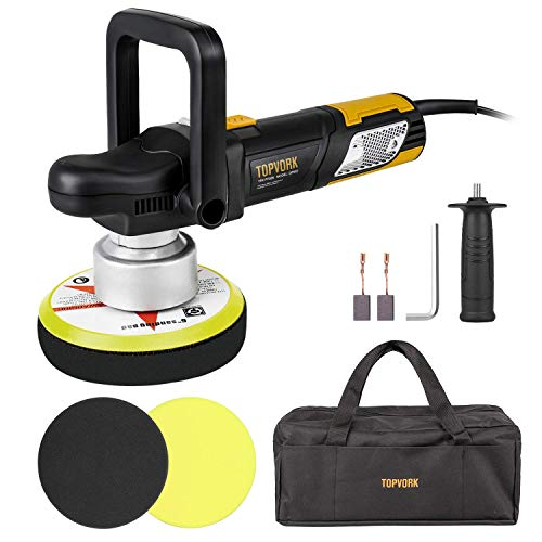 TOPVORK Polisher, 6' Dual-Action Car Buffer/Waxer, High Performance Kit with D-Handle & Side Handle, 2 Foam Discs, 2 Carbon brushes, Allen Wrench, Carring Bag
