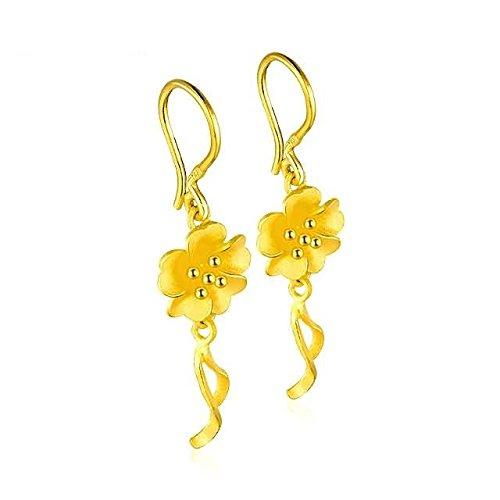 Beydodo 5.53g 24K Yellow Gold 999 Dangle Earrings for Womens Dust sheets Earrings Drop for Wedding