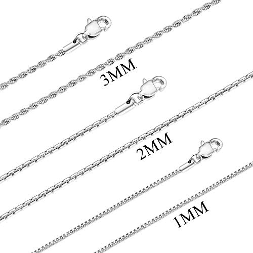FUNRUN JEWELRY 3 PCS Stainless Steel Chain Necklace for Men Women 1-3MM Box&Rope Chain High-Polish Finished 18 Inches