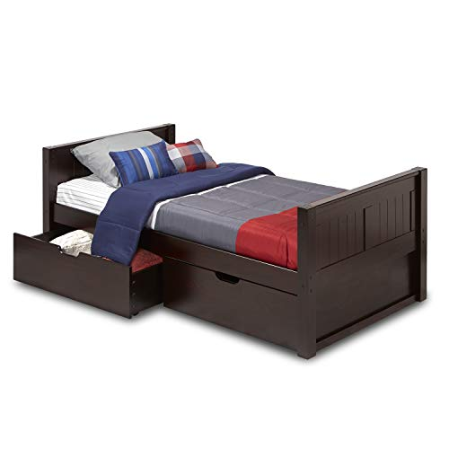 Camaflexi Panel Style Solid Wood Platform Bed with Drawers, Twin, Cappuccino