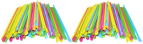 Set of 200 Sno-Cone Straw Spoons! Bright Colors - 8