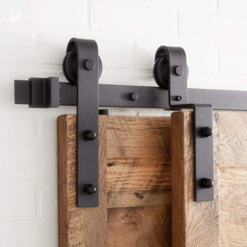 Homacer Sliding Barn Door Hardware Single Track Bypass Double Door Kit, 8FT Flat Track Classic Design Roller, Black Rustic Heavy Duty Interior Exterior Use