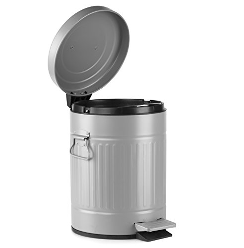 AMG and Enchante Accessories, Round Waste Bin, 5L Garbage Trash Can with Step Foot Pedal, WB07A Gry, Grey