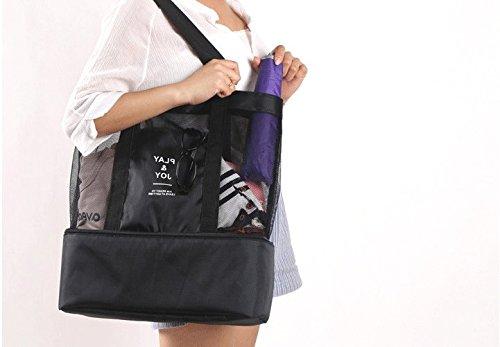 Kegrys picnic borsa porta pranzo termica isolante picnic palmare mesh Beach Tote food drink Storage (nero)