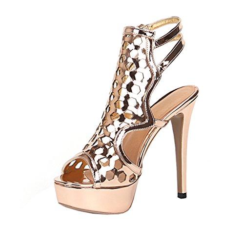 Enmayer Femmes Stiletto Talons Hauts Sandales Lanières Cheville Sangle Zip Robe De Soirée Chaussures Or