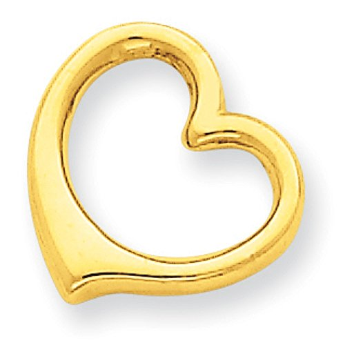 14K Yellow Gold 3-D Floating Heart Charm Slide Pendant
