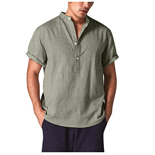 Shirts Button Down Short Sleeve Loose Summer Beach Casual Shirt Tops Cool, Breathable Stand Collar Shirt (XXL,3- Green)]()