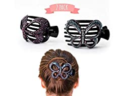 Butterfly Barrettes Hand Painted, Bun Co...