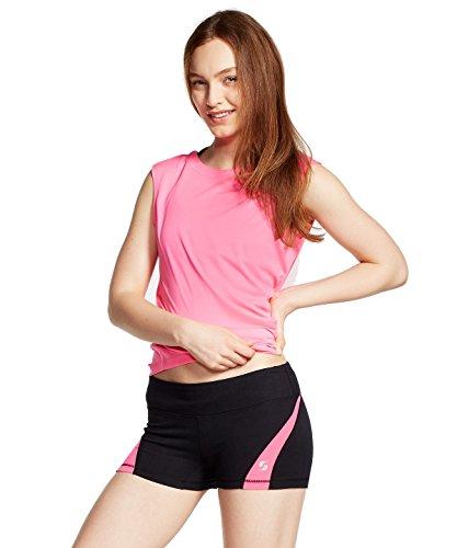 (Soffe Women's JRS Dri Clrblck Short, Black/Neon Pink, Medium)