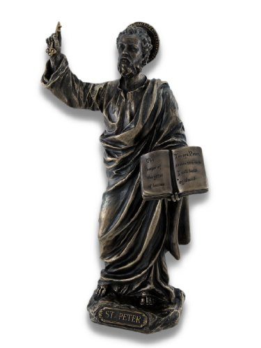 (Things2die4 Resin Statues Wu76023a4 Sculpted Saint Peter Bronzed Statue 4.5 X 8.25 X 2.5 Inches Bronze)