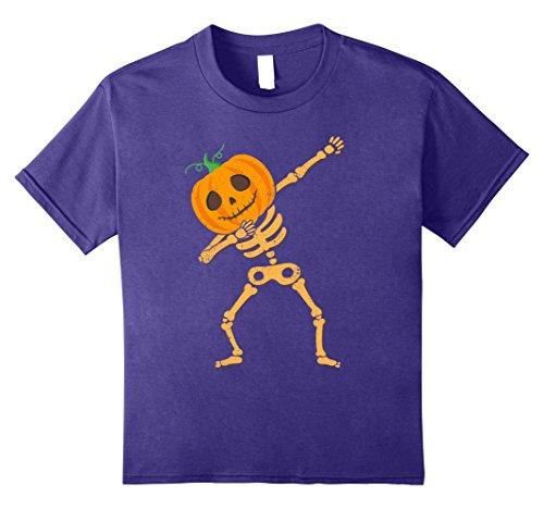 Kids Dabbing Pumpkin Skeleton Jack O'Lantern Halloween Dab Shirt 8 (Purple Skeleton)
