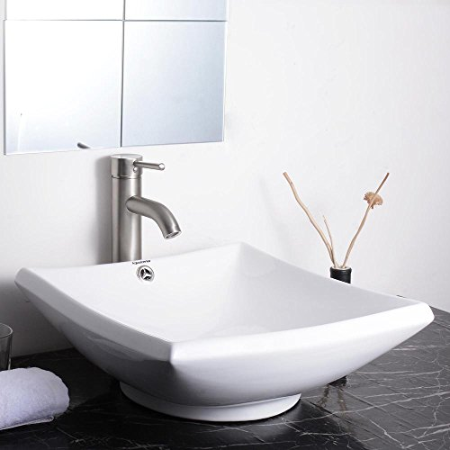 Aquaterior 16-3/4'Lx16-2/3'Wx5-4/5'H Square White Porcelain Ceramic Bathroom Sink w/ Free Chrome Drain and Overflow