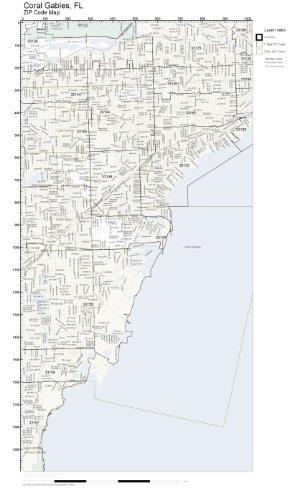 Coral Gables Map Florida.Amazon Com Zip Code Wall Map Of Coral Gables Fl Zip Code Map
