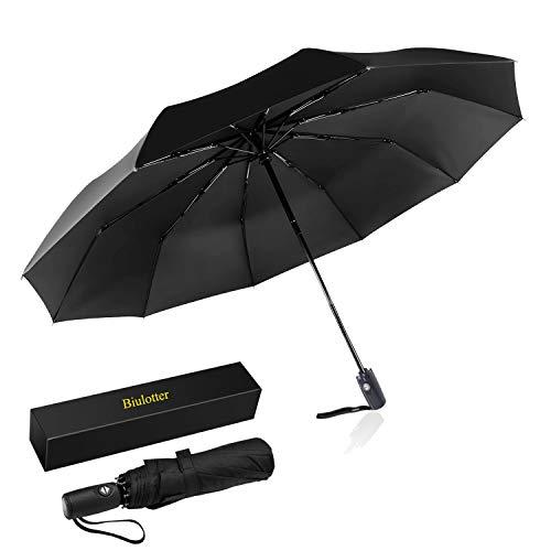 Biulotter Umbrella Travel Golf Umbrella,Windproof with Teflon Coating, Auto Open Close and Upgraded Comfort Handle Umbrella