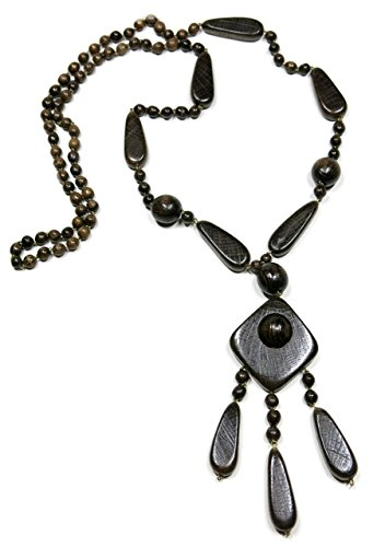 - KaleaBoutique Nohea Hand Crafted Artisan Wooden Ethnic Bohemian Necklace, in Mahogany