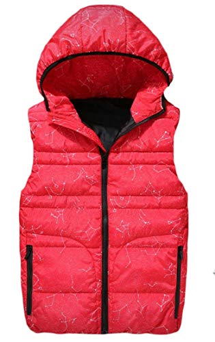 TTYLLMAO Mens Hooded Thicken Big and Tall Quilted Sleeveless Winter Down Vest Jackets Red