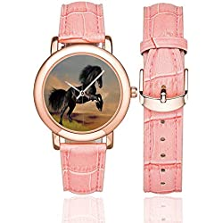 """Horse Decor Rose Gold Leather Strap Watch,Western Wildlife Theme Friesian Horse Galloping Idyllic Sunset Scenery Pasture Decorative for Woman,Case Diameter:1.4""""D"""
