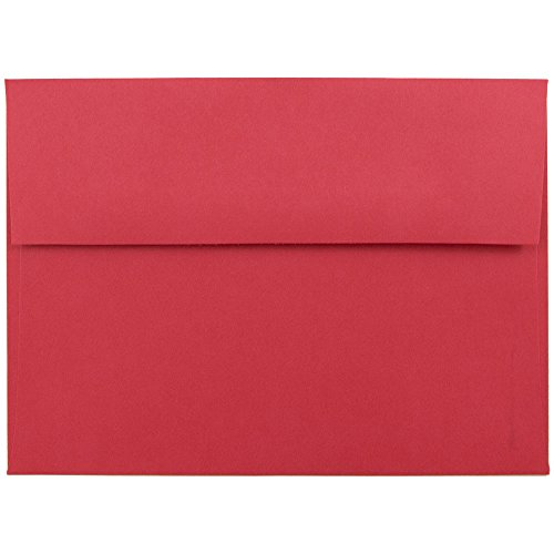 JAM PAPER A7 Colored Invitation Envelopes - 5 1/4 x 7 1/4 - Red Recycled - 25/Pack (Square Chinese Red Envelopes)