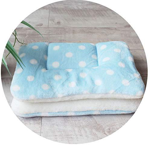 Winter Warm Dog Bed Soft Fleece Pet Blanket Cat Litter Puppy Sleep Cushion,Blue dot,57x38cm
